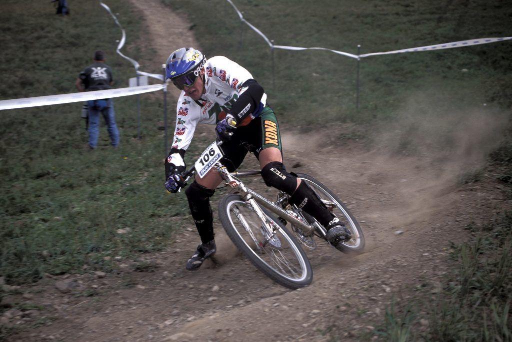 Steve Peat riding Kona bike Downhill .World Championships , Vail , Colorado USA 1994.pic copyright Steve Behr / Stockfile